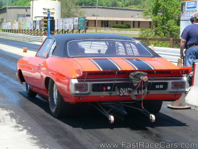 Orange Chevelle Drag Car with Black Vinyl Top