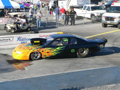 Black Monte Carlo Drag Car with Flames