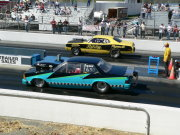 Blue and Black Pontaic Grand Prix Drag Car
