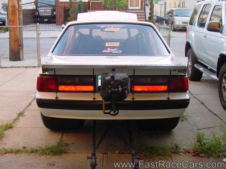 White 1988 Ford Mustang Pro Street Drag Car - Rear View