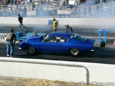 BLUE MUSTANG 10.5 OUTLAW DRAG CAR