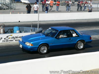 Blue MUSTANG Drag Car
