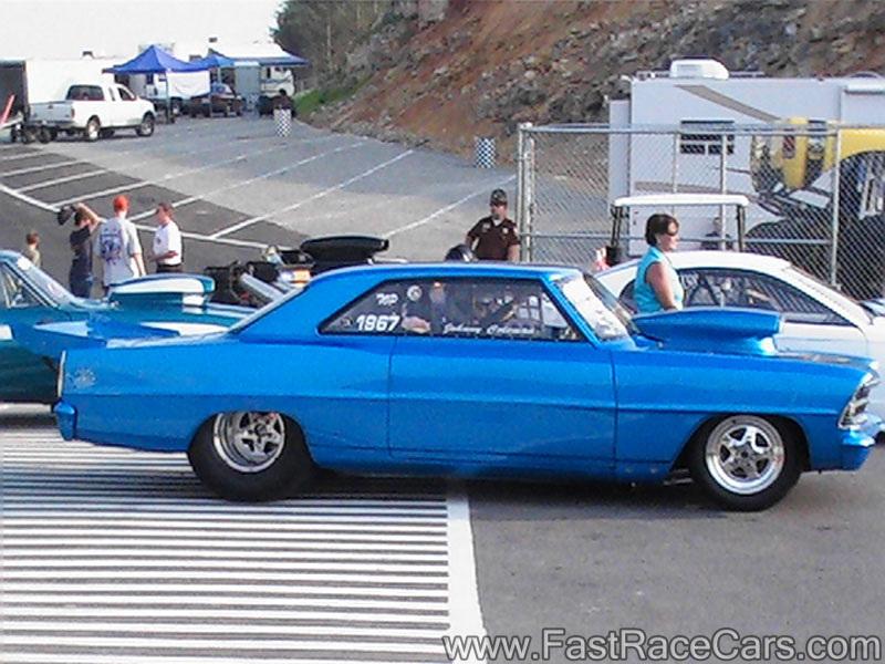 Drag Race Cars > Novas > Picture of BLUE 66 NOVA Drag Car