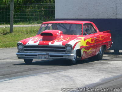 Red NOVA Drag Car with flames