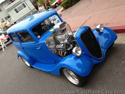 Blue 1933 Ford 2-Door Sedan with Roots-style Supercharger