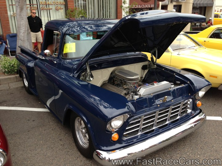 Blue 1957 Ford F100 Step-side Pickup